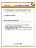 Leadership Development Course: Building A Culture of Innovation - Course Overview - PDF Download